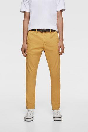 Zara Muži Chino - Kalhoty chino s páskem