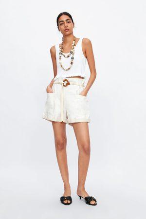 Zara Ženy Bermudy - Rustikální bermudy s páskem