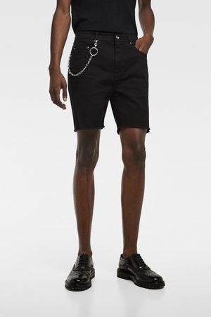Zara Muži Bermudy - Džínové bermudy s řetězem