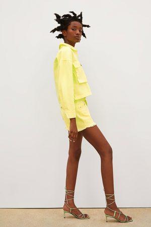 Zara Neonové džínové šortky mid rise