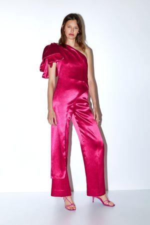 Zara Ženy Široké nohavice - široké kalhoty se saténovým efektem limitovaná edice