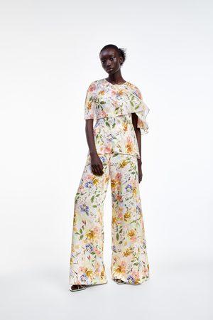 Zara široké kalhoty s květinovým potiskem