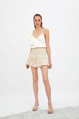 Zara Ženy Kraťasové - šortková sukně s volánem