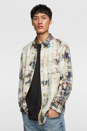 Zara Muži Džínové košile - Kostkovaná košile tie dye