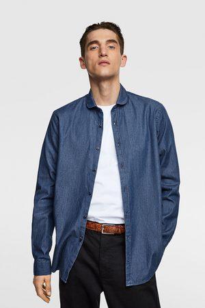 Zara Muži Džínové košile - Džínová košile se zakulaceným límečkem