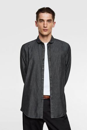 Zara Džínová košile se zakulaceným límečkem