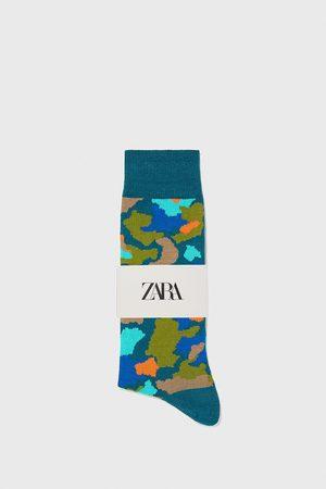 Zara Ponožky z mercerizované bavlny s žakárem kamufláže
