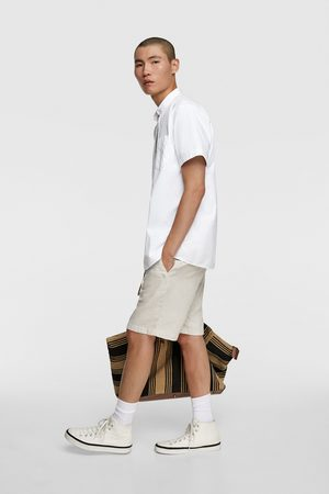 Zara Muži Košile - Keprová košile s korejským límečkem