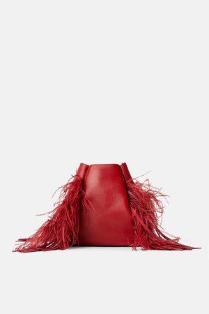 Zara Kožená kabelka vak s peřím