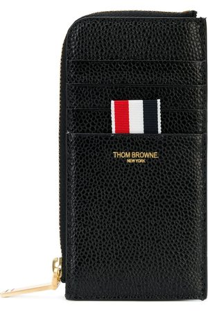 Thom Browne Black Half Zip Around Wallet In Pebble Grain