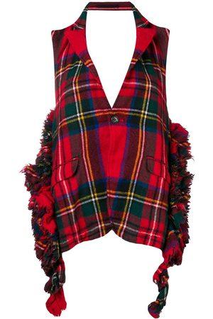Comme des Garçons Tartan frayed backless waistcoat