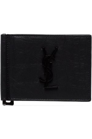 Saint Laurent Croc-embossed money clip wallet