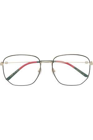 Gucci Web detail hexagonal-frame glasses