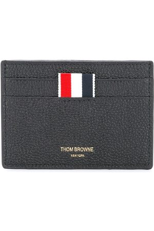 Thom Browne Credit Card Holder In Black Pebble Grain