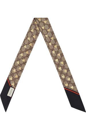 Gucci GG bees silk neck bow