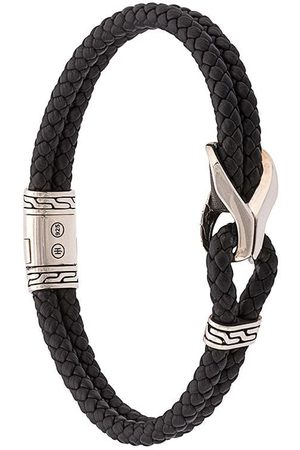 John Hardy Silver Classic Chain Woven Leather Bracelet with Station