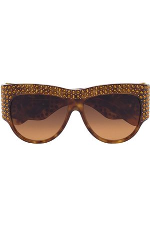 Gucci Brown crystal embellished oversized tortoiseshell sunglasses