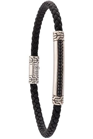 John Hardy Silver and Woven Leather Classic Chain Bracelet with Black Sapphire Station