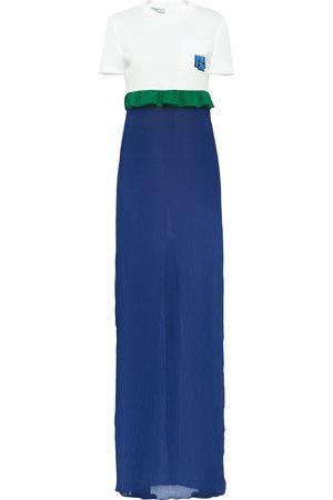Prada Long ruffle-trim dress
