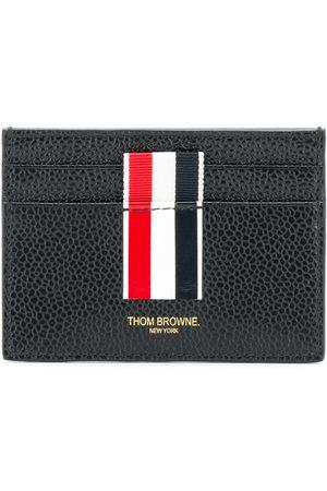 Thom Browne Vertical Intarsia Stripe Single Cardholder In Pebble Grain Leather