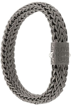 John Hardy Silver and Black Rhodium Classic Chain Flat Chain Bracelet