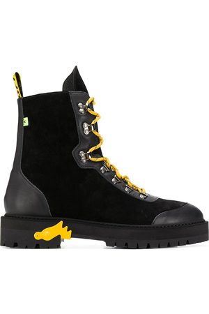 Off-White Contrasting lace-up boots