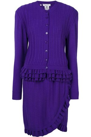 Dior Pre-owned knitted ruffle skirt suit