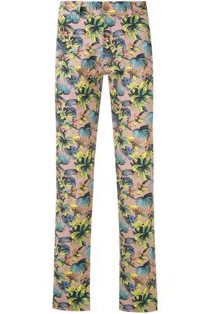 AMIR SLAMA Muži Rovné nohavice - Foliage print straight-leg trousers
