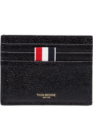 Thom Browne Card Holder With Note Compartment In Black Pebble Grain