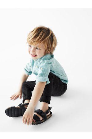 Zara Lněná košile se vzorem kohoutí stopy