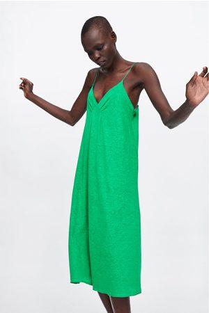 Zara Lněné šaty na ramínka