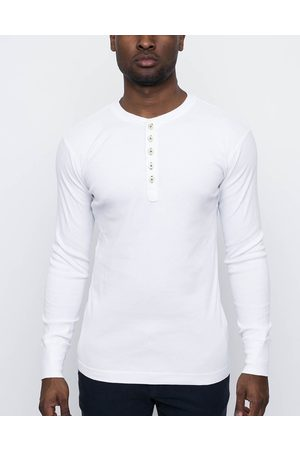 Knowledge Cotton Apparal Rib Knit Henley Bright White L