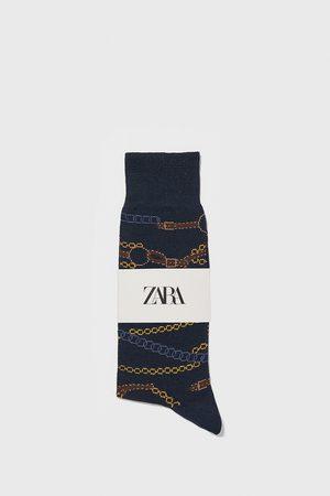 Zara Ponožky z mercerizované bavlny s potiskem řetízků