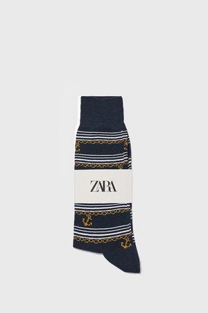 Zara Ponožky z mercerizované bavlny s potiskem kotev