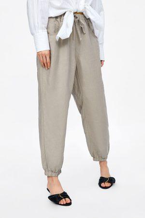 Zara Lněné kalhoty pyžamového stylu