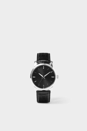 Zara Minimalistické hodinky s koženým černým řemínkem