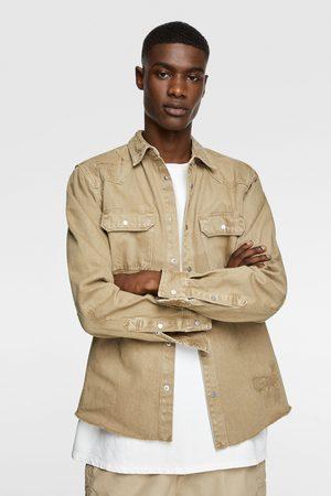 Zara Muži Džínové košile - Džínová svrchní košile s roztrháním