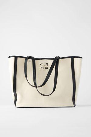 Zara Ženy Do ruky - Plátěná kabelka shopper
