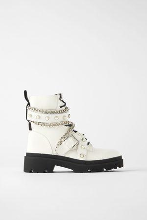 Zara Kožené motorkářské kotníčkové boty ploché