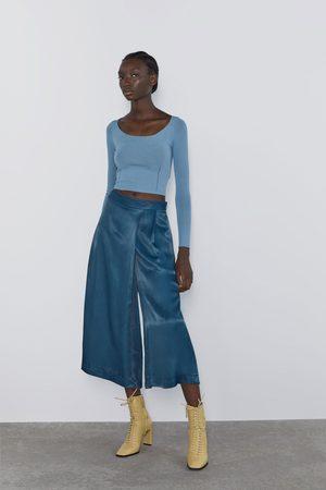 Zara široké saténové kalhoty