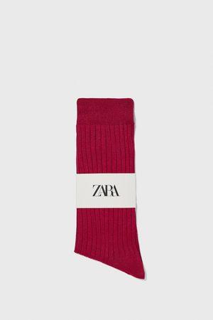 Zara Muži Ponožky - žebrované ponožky z mercerizované bavlny