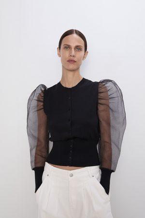 Zara Splývavý organzový kardigan s dlouhým rukávem