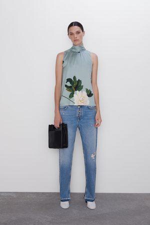 Zara Blůza s květinovým potiskem a vázačkou