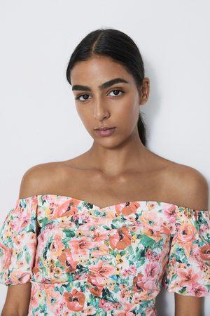 Zara Ženy Topy - Top s květinovým potiskem